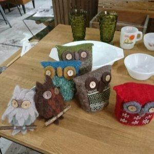 画像1: OWL フエルト モダン ふくろう 大